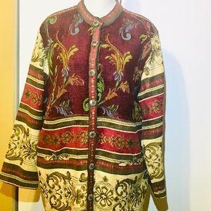 Vintage Sag Harbor Tapestry Floral Burgundy Jacket